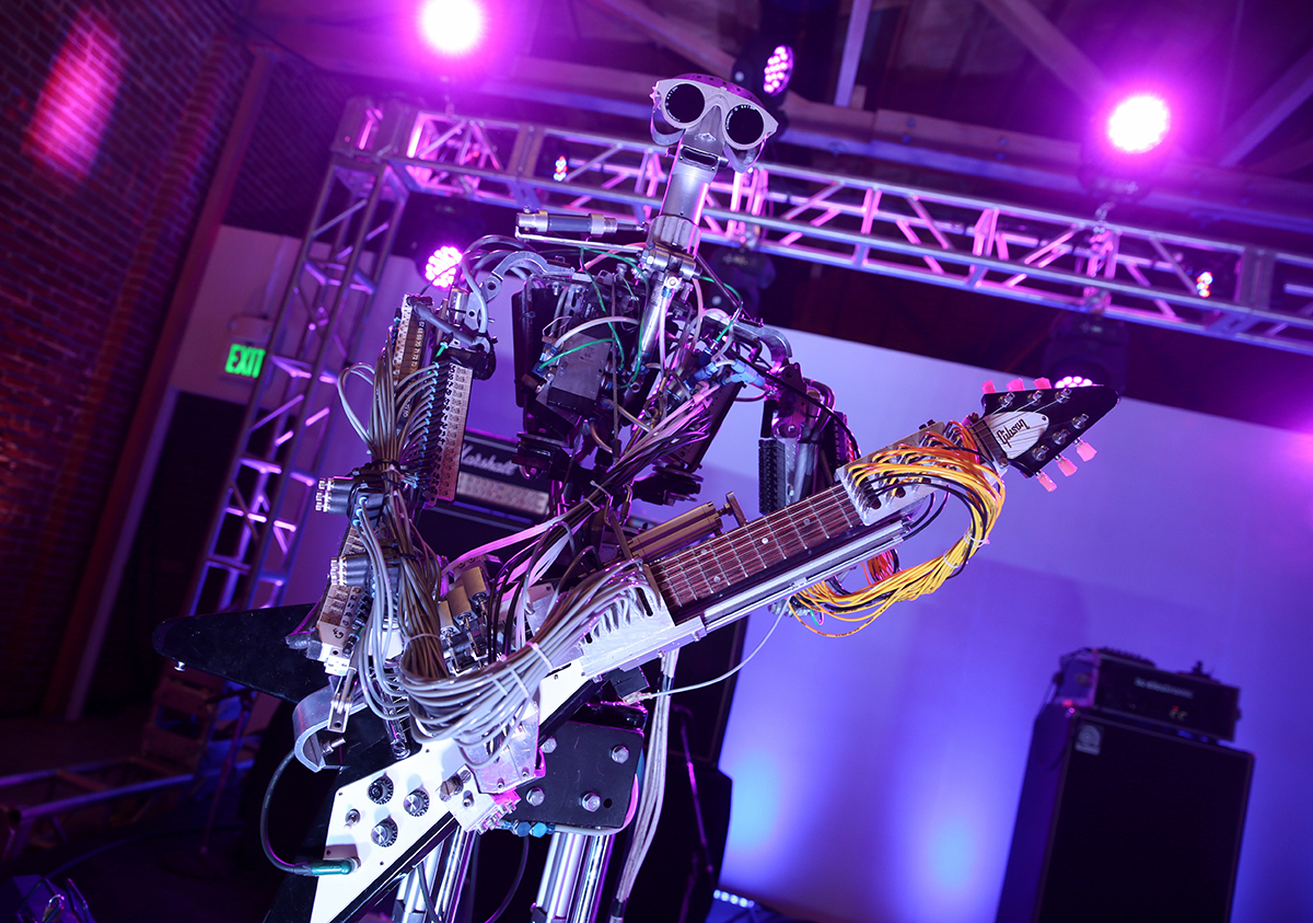 LOS ANGELES, CA - OCTOBER 23:  Compressorhead at Absolut Electrik House, an epic house party transformed by the energy of its guests in celebration of new limited edition Absolut Electrik bottle, on October 23, 2015 in Los Angeles, California.  (Photo by Todd Williamson/Getty Images for Absolut)