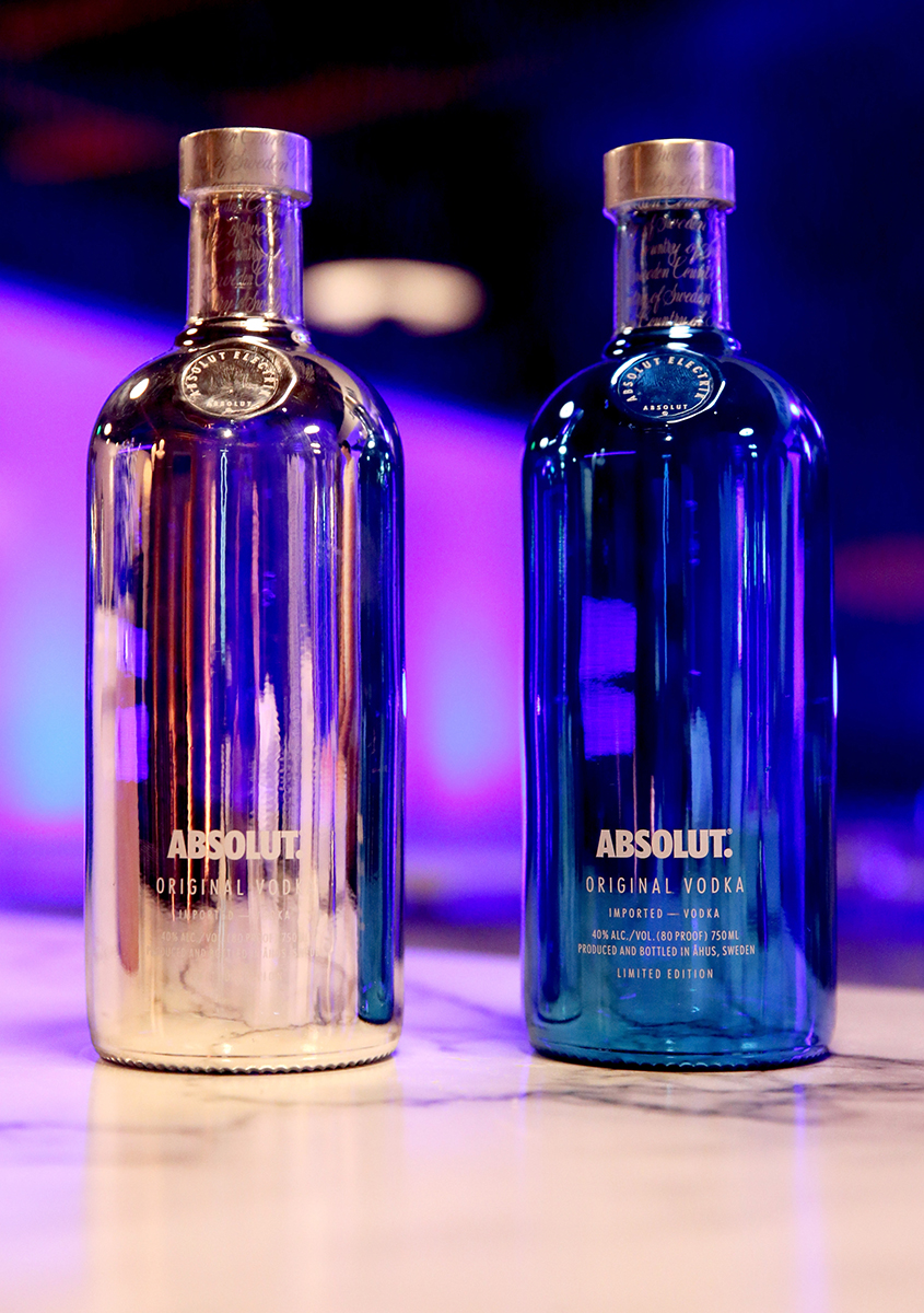 LOS ANGELES, CA - OCTOBER 23:  Absolut Electrik bottles on display at Absolut Electrik House, an epic house party transformed by the energy of its guests in celebration of new limited edition Absolut Electrik bottle, on October 23, 2015 in Los Angeles, California.  (Photo by Todd Williamson/Getty Images for Absolut)
