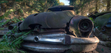 Image: 0150394113, License: Rights managed, Restrictions: * Belgium, Finland, France, Germany and UK Rights OUT *, Dec 21, 2012 - Belgium - EXCLUSIVE CALL FOR PRICE: Revealed: The eerie Belgian 'car graveyard' where forest is gradually reclaiming autos US soldiers couldn't afford to ship home after WWII. This is the haunting sight of a 'car graveyard' nestled in a Belgian forest, where vintage motors sit rusting among the fronds. The old-fashioned vehicles are thought to have been left in the wood near the village of Chatillon by US soldiers who were stationed in southern Belgium during World War II. When the war ended, military troops were sent home, but could not afford to ship the cars they had bought and hid them in the forest. Since then, other cars have been added to the cemetery, many by soldiers stationed in the area after the war. The motors were driven up a hill and parked in a quiet spot, hidden from the outside world. Once back in the US, soldiers who wanted their cars back were told they would have to take personal responsibility for the cost of shipping. Not a single car was retrieved. Over time, corrosion and decay have worn down the vehicles and what little remained was stolen by locals and car collectors, with dashboards and logos proving particularly popular for fixing similar old models., Place: Belgium, Model Release: No or not aplicable, Credit line: Profimedia.com, Zuma Press - Archives