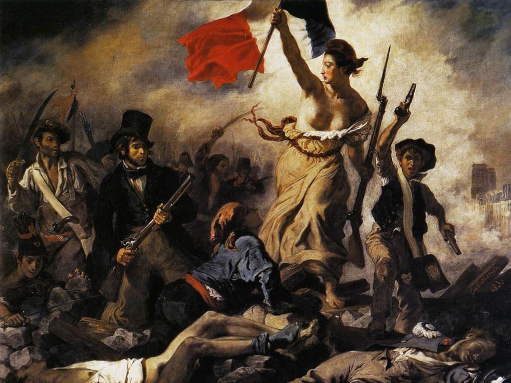 """Delacroix, """"La libertad guiando al pueblo"""" 1830"""