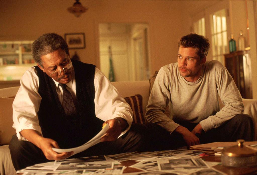 Morgan Freeman y Brad Pitt en Seven