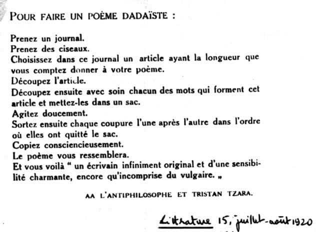 Para hacer un poema dadaísta, Tristan Tzara