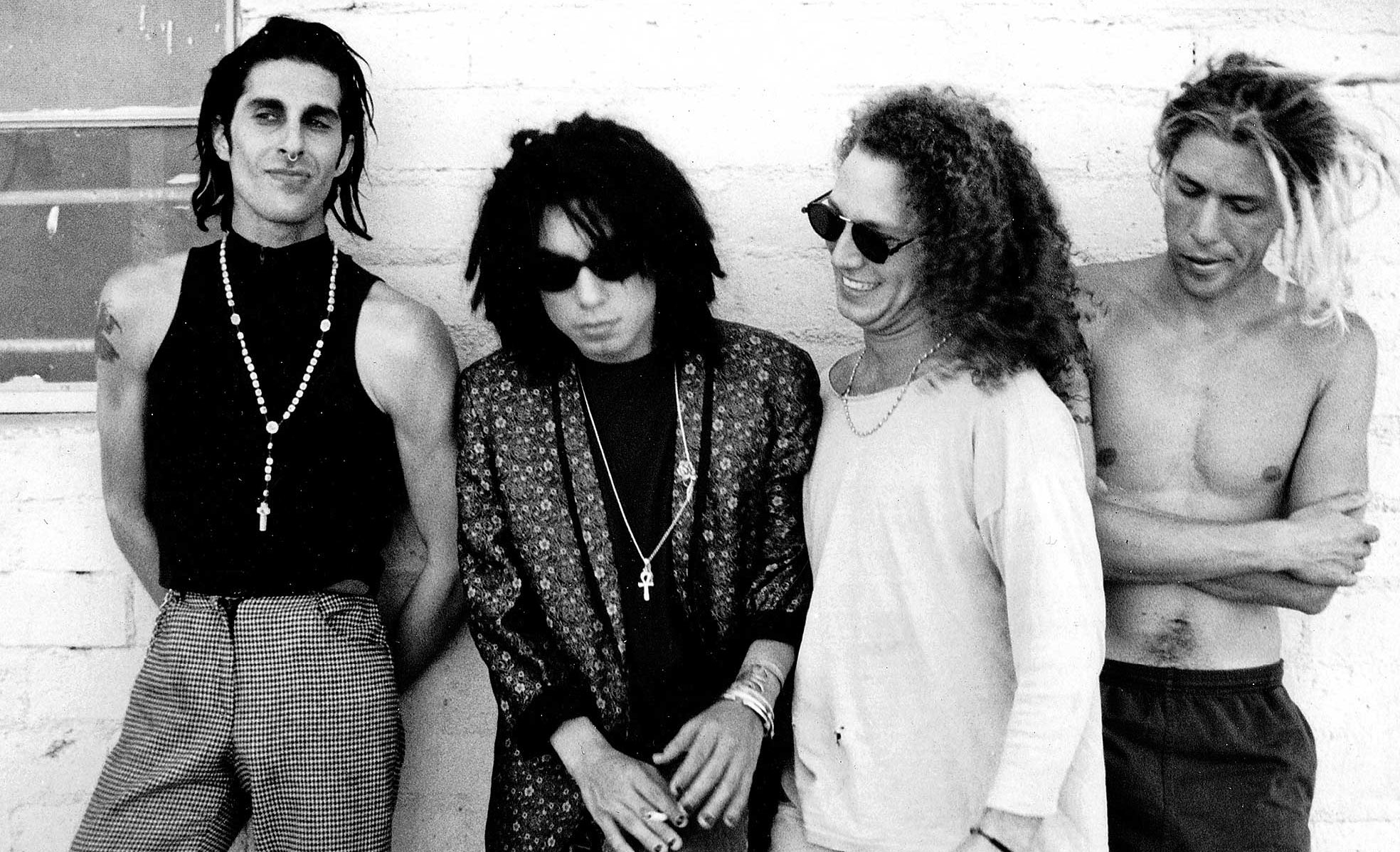 N. HOLLYWOOD - AUG. 3, 1990 - Members of rock group Jane's Addiction, from left: Perry Farrell, Dave Navarro, Stephen Perkins and Eric Avery. Photo: Los Angeles Times Scanned from library hard file on Oct. 29, 2013
