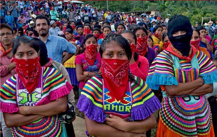 EZLN, encapuchado, manifestación