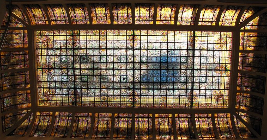 vitral art nouveau interior Palacio de Hierro