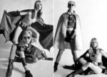 Andy Warhol y Nico en photoshoot como Batman y Robin
