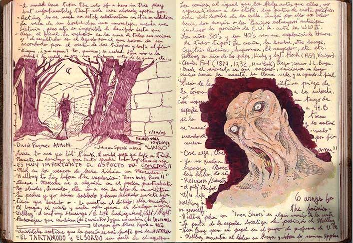 anotaciones e ilustraciones de Guillermo del Toro