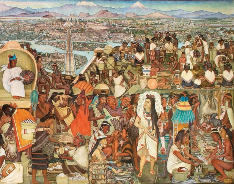 ilustración de tianguis prehispánico