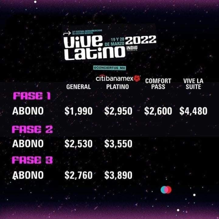 Precios para abonos Vive Latino 2022